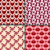 Uppsättning för valentindagbakgrund Ljusa retro sömlösa modeller som belägger med tegel röd färg Att upprepa textur kan användas  Royaltyfri Fotografi