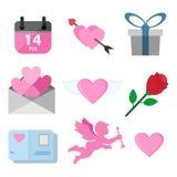 Uppsättning för Valentine Day Related Symbols Vector illustrationdiagram royaltyfri illustrationer