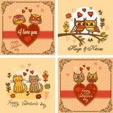 Uppsättning för valentinhälsningkort royaltyfri illustrationer