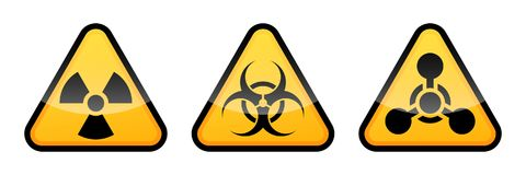 Uppsättning för varningsvektortecken Utstrålningstecknet, Biohazardtecknet, kemiska vapen undertecknar vektor illustrationer
