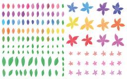 Uppsättning för vattenfärg för blomma för bladkronbladform Arkivfoton