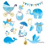 Uppsättning för vattenfärgbaby showerpojke vektor illustrationer