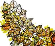 Uppsättning för vattenfärghöstblad stock illustrationer