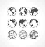 Uppsättning för Vecrot jordklotsymbol. Arkivbild