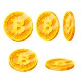 Uppsättning för vektor Bitcoin för guld- mynt Flip Different Angles Moderna faktiska pengar Digital valuta Isolerad plan illustra vektor illustrationer