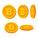 Uppsättning för vektor Bitcoin för guld- mynt Lägenhet tecknad film Flip Different Angles Digital valutapengar isolerat framföran vektor illustrationer