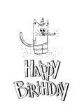 Uppsättning för vektor för beståndsdelar för parti för lycklig födelsedag Hand som dras av födelsedagpartiet Arkivbilder
