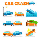 Uppsättning för vektor för bilkrasch Försäkring cases bilkrasch Arkivfoton