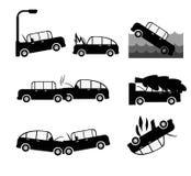Uppsättning för vektor för bilkrasch Försäkring cases bilkrasch Royaltyfri Foto