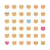 Uppsättning för vektor för björnemojisymbol Plana gulliga isolerade emoticons Arkivbilder