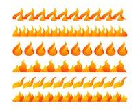 Uppsättning för vektor för branddesignbeståndsdelar Arkivfoton