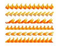 Uppsättning för vektor för branddesignbeståndsdelar Arkivbild