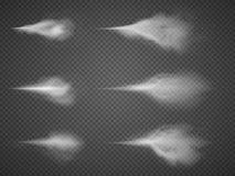 Uppsättning för vektor för deodorantsprejflaskadimma Mist för vattenærosolsprej royaltyfri illustrationer