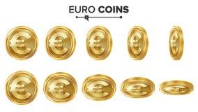 Uppsättning för vektor för guld- mynt för euro 3D realistisk ballonsillustration Flip Different Angles Pengar Front Side isolerat vektor illustrationer