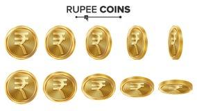 Uppsättning för vektor för guld- mynt för rupie 3D realistisk ballonsillustration Flip Different Angles Pengar Front Side isolera Arkivbild