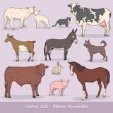 Uppsättning för vektor för lantgårddjur Royaltyfri Foto