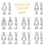 Uppsättning för vektor för lineart för folksymboler grafisk Linje konstsamling Royaltyfri Fotografi