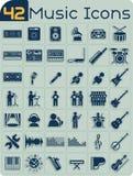 Uppsättning för vektor för 42 musiksymboler Arkivfoton
