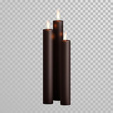 Uppsättning för vektor för stearinljus för arom för Spa dekorativ svartbrunt stock illustrationer
