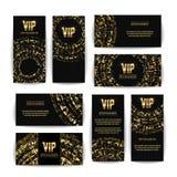 Uppsättning för vektor för storgubbeinbjudankort Högvärdig tom affischreklamblad för parti Svart guld- designmall dekorativ vekto Royaltyfri Bild