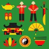 Uppsättning för vektor för symbol för Tai-chi chuan stock illustrationer