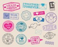 Uppsättning för vektor för tappningportostämplar Romantiskt datum förälskelse, valentindagsamling stock illustrationer