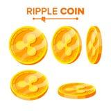 Uppsättning för vektor för guld- mynt för krusning Flip Different Angles Faktiska pengar för krusning Digital valuta Isolerad pla royaltyfri illustrationer