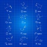 Uppsättning för vektor för konstellationer för vita för zodiakteckenhoroskop för symboler symboler för astrologi zodiacal stock illustrationer