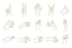 Uppsättning för vektor för kontur för handgester Royaltyfri Fotografi
