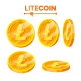 Uppsättning för vektor Litecoin för guld- mynt Flip Different Angles Litecoin faktiska pengar Digital valuta Isolerat framlänges royaltyfri illustrationer