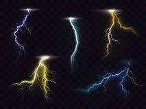 Uppsättning för vektor för ljusa effekter för blixtexponering glödande vektor illustrationer