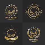Uppsättning för vektor för logo för skalleöversikt guld- del tre vektor illustrationer