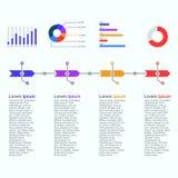 Uppsättning för vektor för mall för presentationsaffär infographic Arkivbild