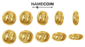 Uppsättning för vektor Namecoin 3D för guld- mynt realistiskt Flip Different Angles Digital valutapengar isolerat framförande för Arkivfoton