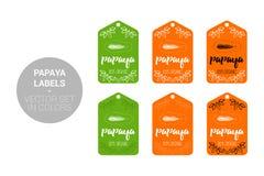 Uppsättning för vektor för PapayafruktEco etiketter i gröna orange färger vektor illustrationer