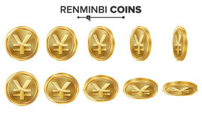 Uppsättning för vektor Renminbi 3D för guld- mynt realistisk ballonsillustration Flip Different Angles Pengar Front Side isolerat Fotografering för Bildbyråer