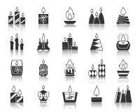Uppsättning för vektor för symboler för kontur för svart för stearinljusflamma stock illustrationer