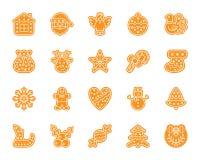 Uppsättning för vektor för symboler för kontur för Xmas-pepparkakafärg stock illustrationer
