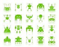 Uppsättning för vektor för symboler för robotfärgkontur royaltyfri illustrationer