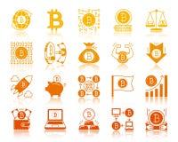 Uppsättning för vektor för symboler för skåra för Bitcoin finans guld- stock illustrationer