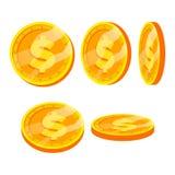 Uppsättning för vektor för tecken för guld- mynt för dollar Lägenhet tecknad film Flip Different Angles Valutapengar Investeringb royaltyfri illustrationer