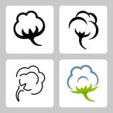 Uppsättning för vektorbomullssymboler stock illustrationer