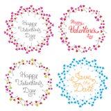 Uppsättning för vektorcirkelram med mångfärgade hjärtor romantisk bakgrund Royaltyfri Foto