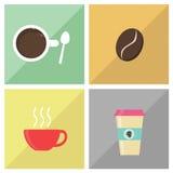 Uppsättning för vektorcolorfullkaffe Royaltyfri Bild