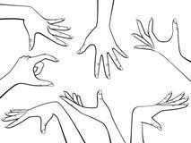 Uppsättning för vektordesignbeståndsdelar av den härliga översikten för kvinnahandsvart som isoleras på vit stock illustrationer