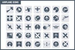 Uppsättning för vektorflygplansymbol Arkivbilder