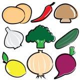 Uppsättning för vektorgrönsaksymbol Arkivbild