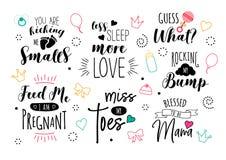 Uppsättning för vektorhavandeskapbokstäver för moderskap och mamma royaltyfri illustrationer