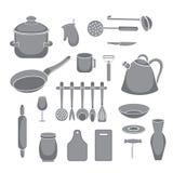 Uppsättning för vektorkökhjälpmedel Kitchenwaresamling vektor illustrationer