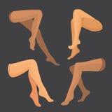 Uppsättning för vektorkvinnaben Flickakropp, härligt och sexigt, skönhetmode Flickan lägger benen på ryggen härligt stock illustrationer